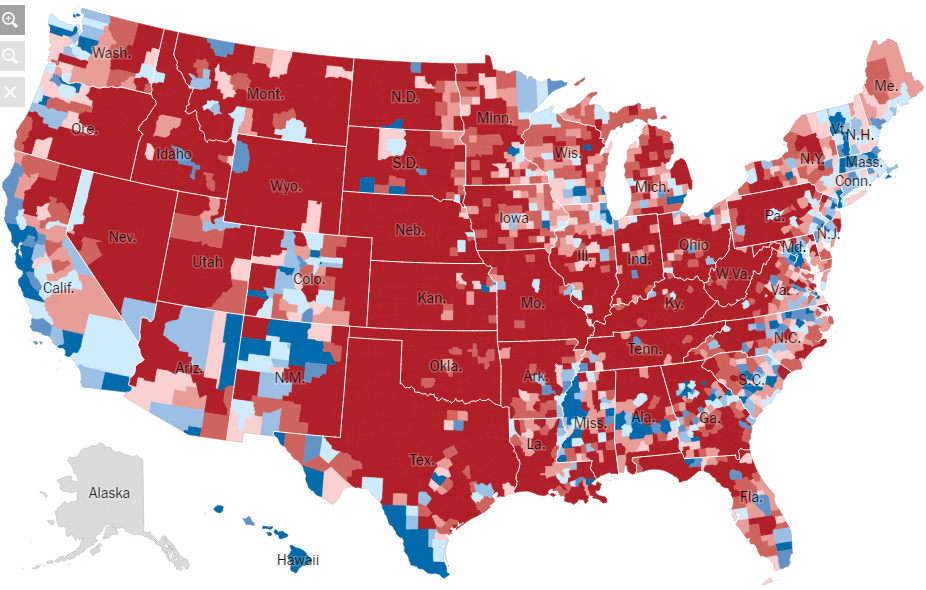 the urban rural divide 2016 presidential election by county