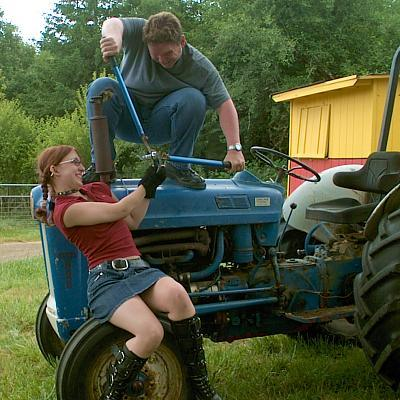 Ford 600 tractor with teenagers